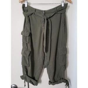 New DA-NANG Cargo Silk Roll Up Capri Pants S